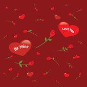 Hintergrund mit rosen und herzen — Stockvektor