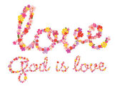 God is love floral lettering — Stock Vector