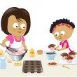 Mother and daughter baking — Stock Vector