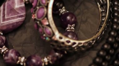 Various jewellery on the table — Stock Video