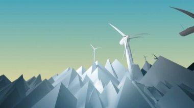 Computer animation of wind turbines — Stock Video