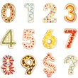 Numbers 0 to 9 from decorated cookies - Foto de Stock