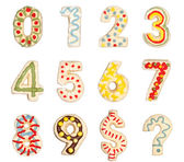 Numbers 0 to 9 from decorated cookies — Stockfoto