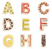 Letters A to I from decorated cookies — Stock Photo