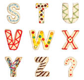 Letters S to Z from decorated cookies — Stock Photo