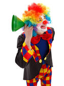 Clown with green funnel — Stock Photo
