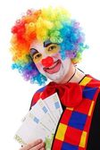 Clown showing big money — Stock Photo