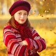 Girl in front of autumn leaves — Stock Photo #23890675