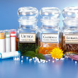 Постер, плакат: Various plant extract in bottles and homeopathic medication