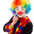 Clown with white funny shutter shades sunglasses — Stock Photo #41316641