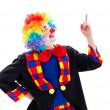 Happy clown pointing upward — Stock Photo