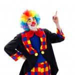 Happy clown pointing upward — Stock Photo