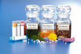 Various plant extract in bottles and homeopathic medication — Stock Photo