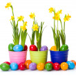 Easter with daffodils and colorful painted eggs — Stock Photo