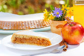 Apple pie on breakfast table — Stock Photo