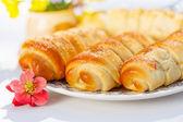 Vanilla custard stuffed pastry — Stock Photo