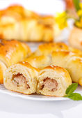 Meat stuffed crescent roll — Stock Photo