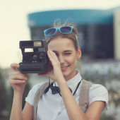 Chica fotógrafo — Foto de Stock