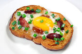 Hot sandwich with eggs — Stock Photo