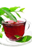 Cup of red flower tea — Stock Photo