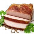 Smoked lard slices - Stock Photo