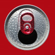 Opened aluminum can closeup - Stock Photo