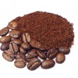 Coffee beans and ground coffee - Stock Photo