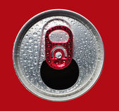 Opened aluminum can closeup — Stock Photo