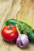 Tomato, garlic and cucumber — Stock Photo