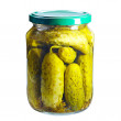 Pickled cucumber in glass jar — Stock Photo