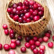 Stock Photo: Cranberries with basket