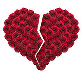 Broken heart made of red roses — Stock Photo