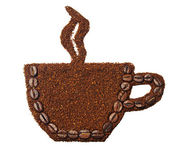 Ground coffee in the shape of a cup of coffee — Foto de Stock