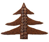 Ground coffee in the shape of Christmas tree — Stock Photo