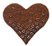 Café moulu en forme de coeur — Photo
