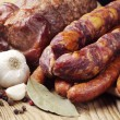 Different smoked sausage and meat — Stock Photo