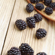 Blackberry on a wooden table — Stock Photo