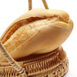 Bread in a basket closeup — Stock Photo