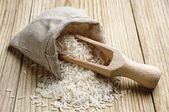 Rice in a sack — Stock Photo