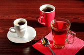 Different cup tea and coffee — Stock Photo