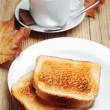 Toast and cup of coffee — Stock Photo