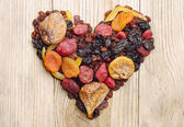Dried fruits in the shape of hearts — Foto de Stock