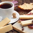 Sweet waffle and cup of coffee — Stock Photo