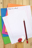 Exercise books, pencil and clean sheet — Stock Photo