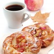Buns with apple and cup of coffee — Stock Photo