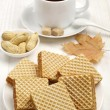 Sweet waffle and cup of tea — Stock Photo