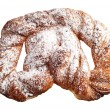 Braided bun with powdered sugar — Stock Photo