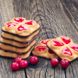 Cookies with jam and cranberry — Stock Photo