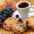 Stock Photo: Cup of coffee, cookies and grape