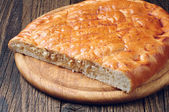 Piece cabbage pie closeup — Stockfoto